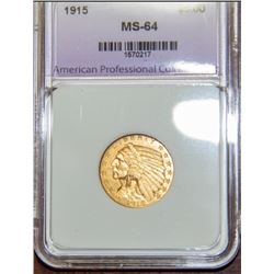 1915 $5 Indian Head Half Eagle Gold Coin MS64