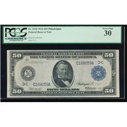 1914 $50 Philadelphia Federal Reserve Note PCGS 30