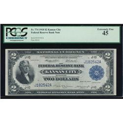 1918 $2 Kansas City Federal Reserve Bank Note PCGS 45