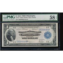 1918 $1 Philadelphia Federal Reserve Bank Note PMG 58EPQ