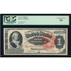 1886 $1 Martha Washington Silver Certificate PCGS 64