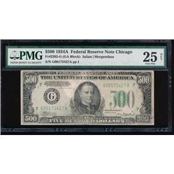 1934A $500 Chicago Federal Reserve Note PMG 25NET