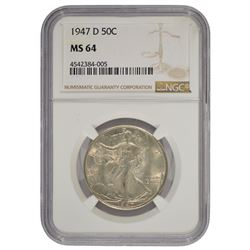 1947-D Walking Liberty Half Dollar Coin NGC MS64
