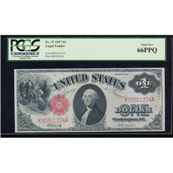 1917 $1 Legal Tender Note PCGS 66PPQ