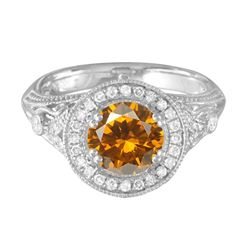 14KT White Gold 2.11ct Citrine and Diamond Ring