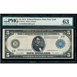 1914 $5 New York Federal Reserve Bank Note PMG 63