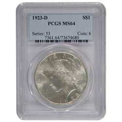 1923-D $1 Peace Silver Dollar Coin PCGS MS64