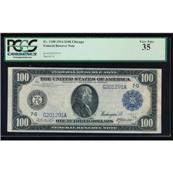 1914 $100 Chicago Federal Reserve Note PCGS 35