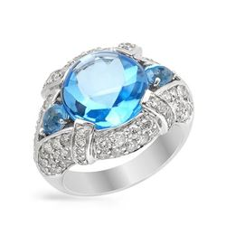 14KT White Gold 8.34ct Blue Topaz and Diamond Ring