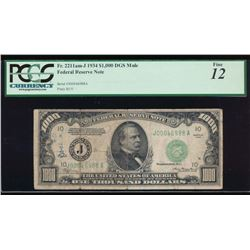 1934 $1000 Kansas City Federal Reserve Note PCGS 12