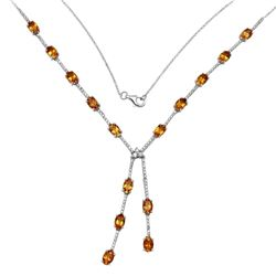 18KT White Gold 6.59ctw Citrine and Diamond Necklace