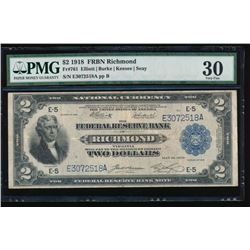 1918 $2 Richmond Federal Reserve Bank Note PMG 30