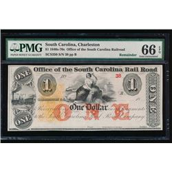 1840-70s $1 South Carolina Obsolete Note PMG 66EPQ
