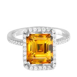 14KT White Gold 14.22ct Citrine and Diamond Ring