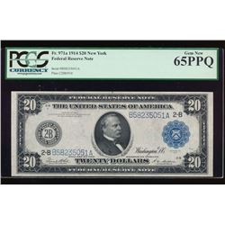 1914 $20 New York Federal Reserve Note PCGS 65PPQ