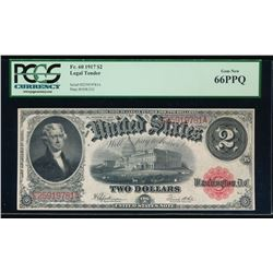1917 $2 Large Legal Tender Note PCGS 66PPQ