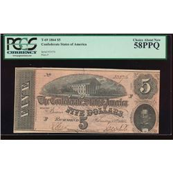 1864 $5 Confederate States of American Note PCGS 58PPQ
