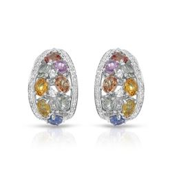 14KT White Gold 6.57ctw Multi Color Sapphire and Diamond Earrings