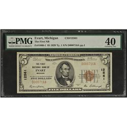 1929 $5 First National Bank of Evart Michigan Note PMG 40