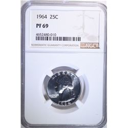 1964 Washington Quarter Coin NGC PF69