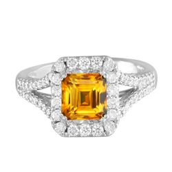14KT White Gold 1.74ct Citrine and Diamond Ring