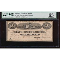 1863 $2 North Carolina Obsolete Note PMG 65EPQ
