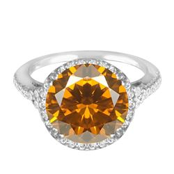 14KT White Gold 6.84ct Citrine and Diamond Ring