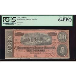 1864 $10 Confederate States of American Note PCGS 64PPQ