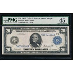 1914 $20 Chicago Federal Reserve Note PMG 45
