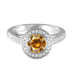 14KT White Gold 1.03ct Citrine and Diamond Ring