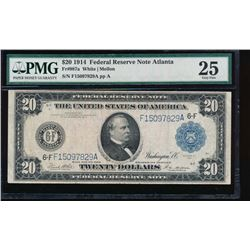 1914 $20 Atlanta Federal Reserve Note PMG 25