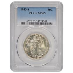 1943-S Walking Liberty Half Dollar Coin PCGS MS65