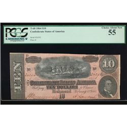 1864 $10 Confederate States of America Note PCGS 55