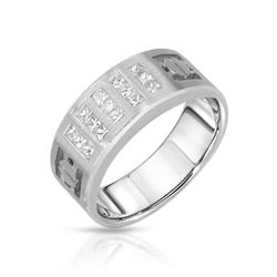 14KT White Gold 0.58ctw Diamond Wedding Band