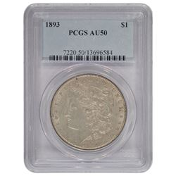 1893 $1 Morgan Silver Dollar Coin PCGS AU50