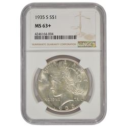 1935-S $1 Peace Silver Dollar Coin NGC MS63+