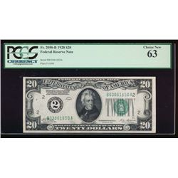 1928 $20 New York Federal Reserve Note PCGS 63