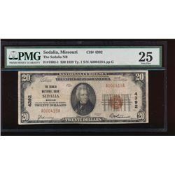 1929 $20 Sedalia Missouri Nation Bank Note PMG 25