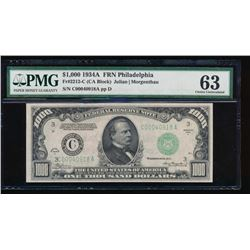 1934A $1000 Philadelphia Federal Reserve Note PMG 63