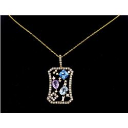 14KT Yellow Gold 1.40ctw Levian Chocolate Diamond Pendant with Chain