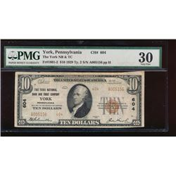 1929 $10 York Nation Bank Note PMG 30