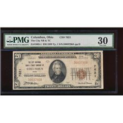 1929 $20 Columbus Ohio Nation Bank Note PMG 30