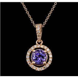 1.51 ctw Tanzanite and Diamond Pendant With  Chain - 14KT Rose Gold