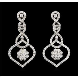 2.58 ctw Diamond Earrings - 18KT White Gold