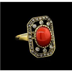 2.60 ctw Coral and Diamond Ring - 18KT Yellow Gold
