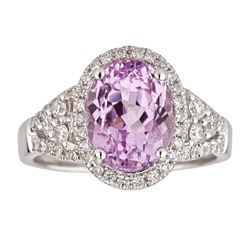 4.17 ctw Kunzite and Diamond Ring - 14KT White Gold