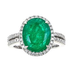 4.44 ctw Emerald and Diamond Ring - 14KT White Gold