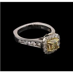 2.05 ctw Light Yellow Diamond Ring - 14KT White Gold