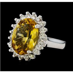 5.37 ctw Citrine Quartz  and Diamond Ring - 14KT White  Gold