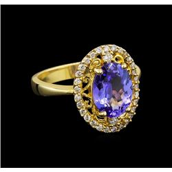 14KT Yellow Gold 2.45 ctw Tanzanite and Diamond Ring